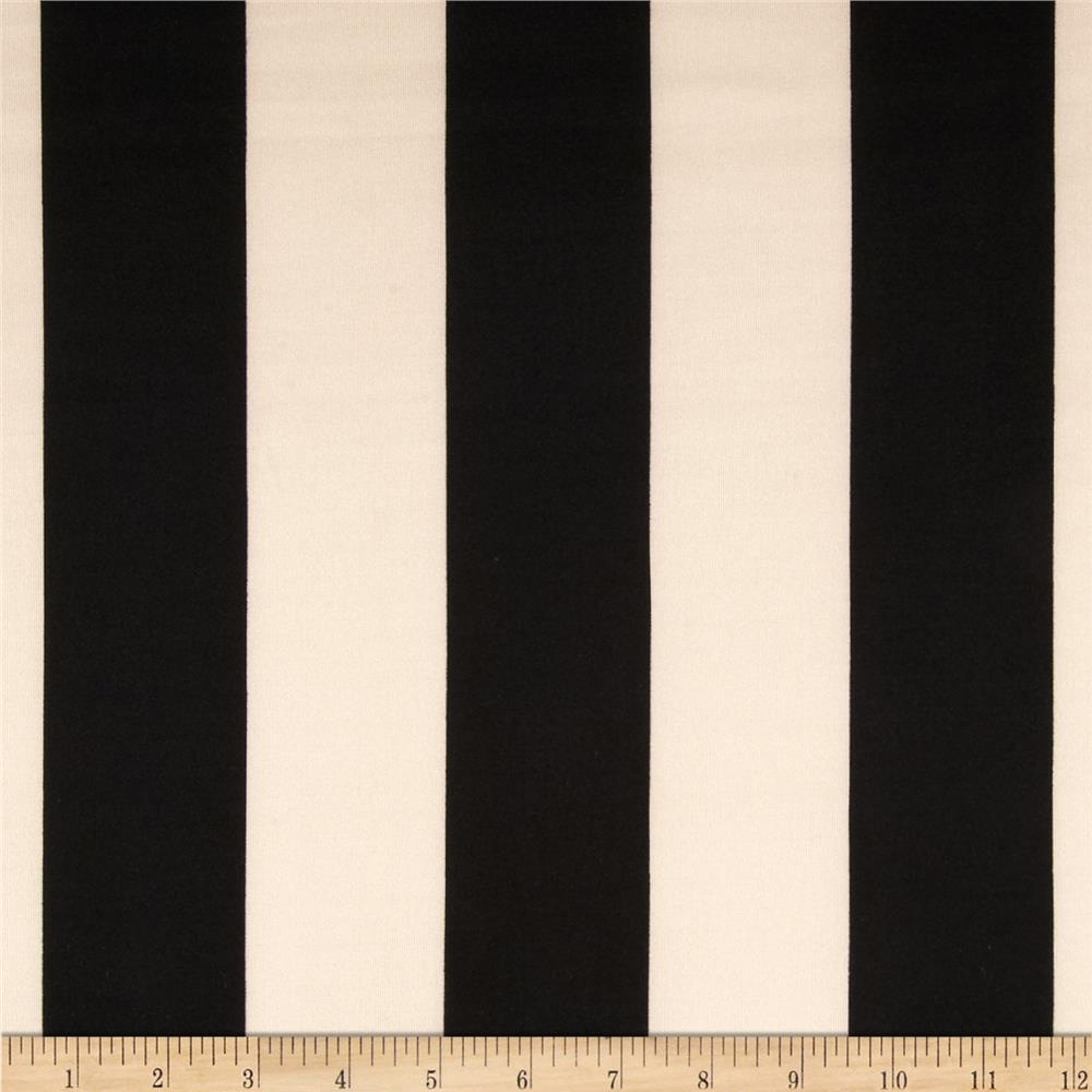 Scuba Knit Large Stripes Black/Beige