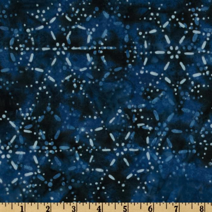 Moda Snow Days Batiks Snowflake Blue/Navy