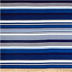 Double Brushed Jersey Knit Milana Ethnic Stripes Blue/White