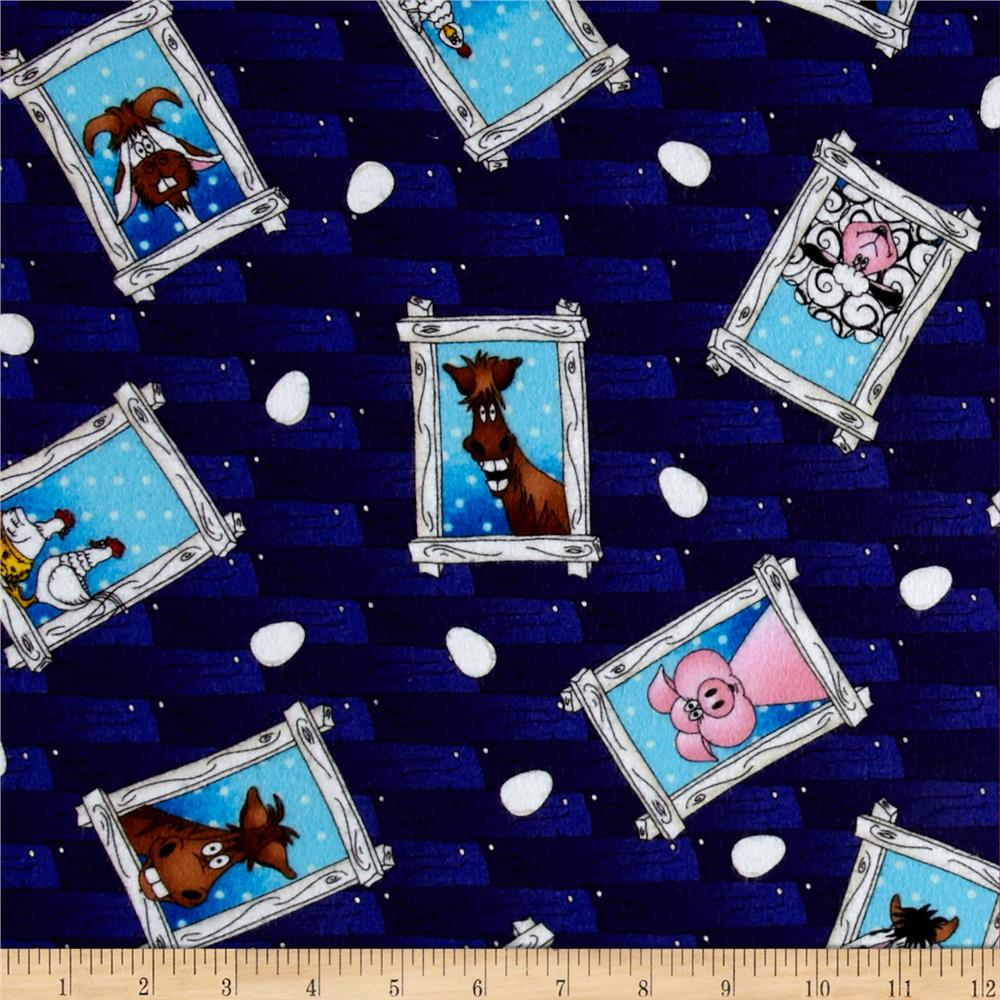 The Farm At Whistlepig Creek Flannel Animals Blue