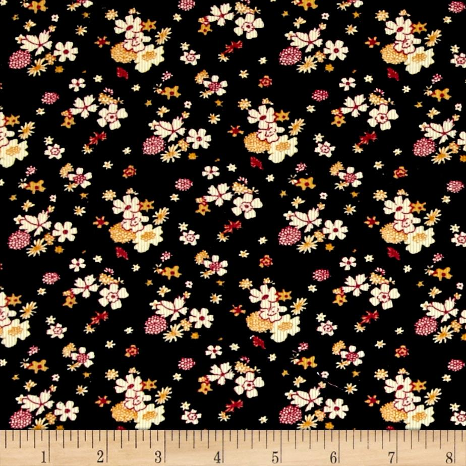 Corduroy yellow flowers black discount designer fabric for Kids corduroy fabric