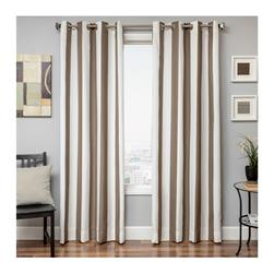 "Sunbrella 96"" Grommet Stripe Outdoor Panel Cocoa"