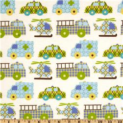 Transportation Flannel Nursery Traffic Jam White