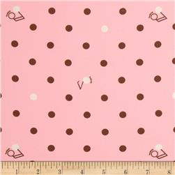 Crepe Polka Dot Pink/Brown