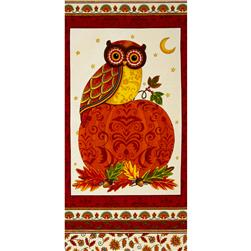 Moda Forest Fancy 24 In. Owl Panel Berry