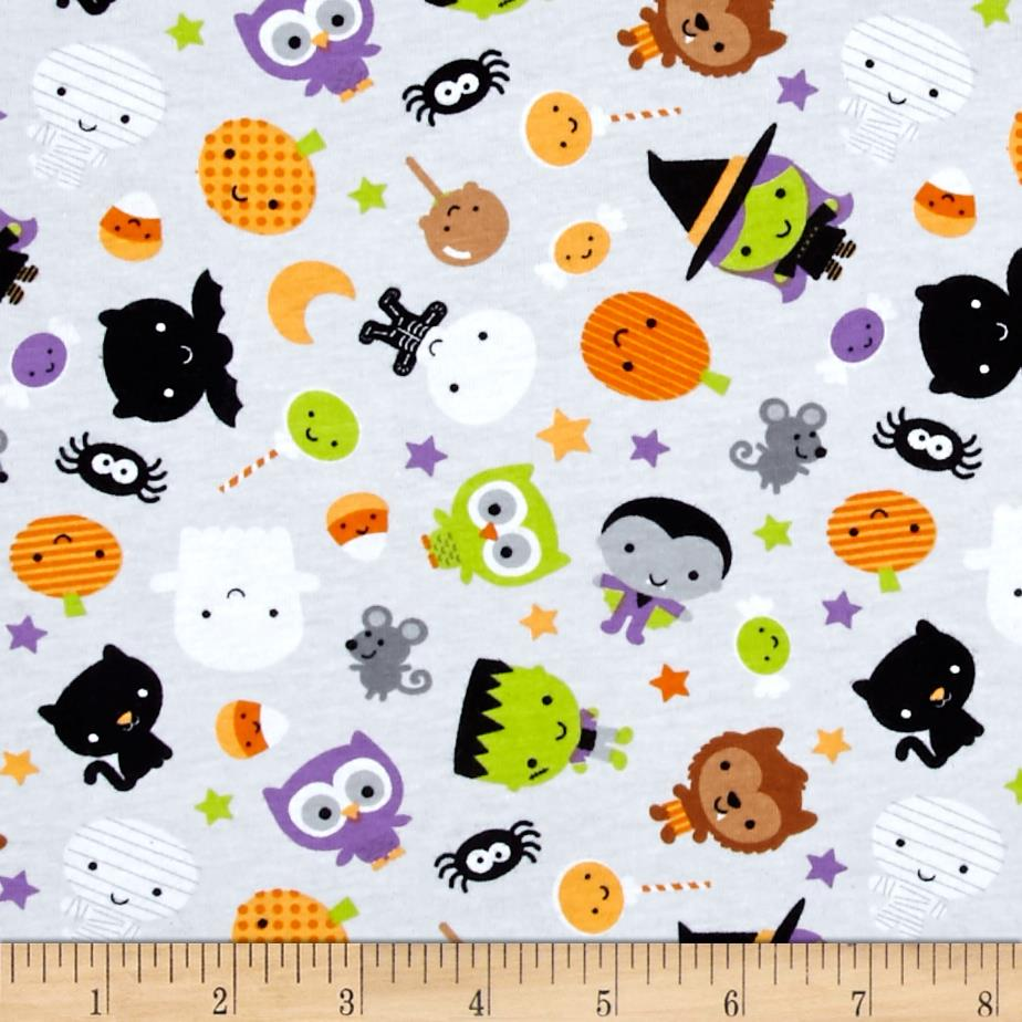 Riley Blake Cotton Jersey Knit Ghouls Main Gray Fabric By The Yard