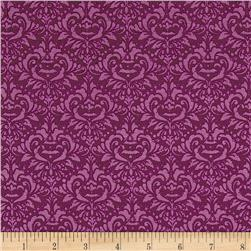 Riley Blake EEK BOO Shriek Damask Purple