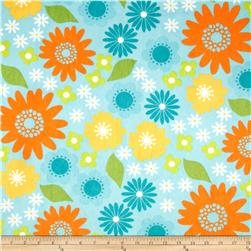 Minky Cuddle Izzy Flower Light Blue