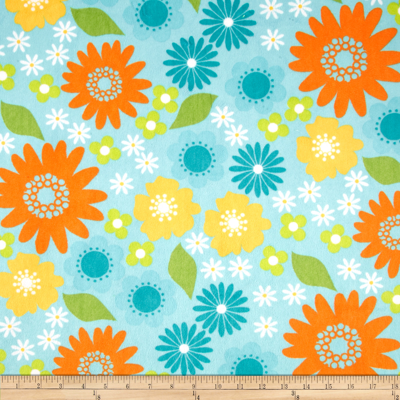 Minky Cuddle Izzy Flower Topaz Fabric