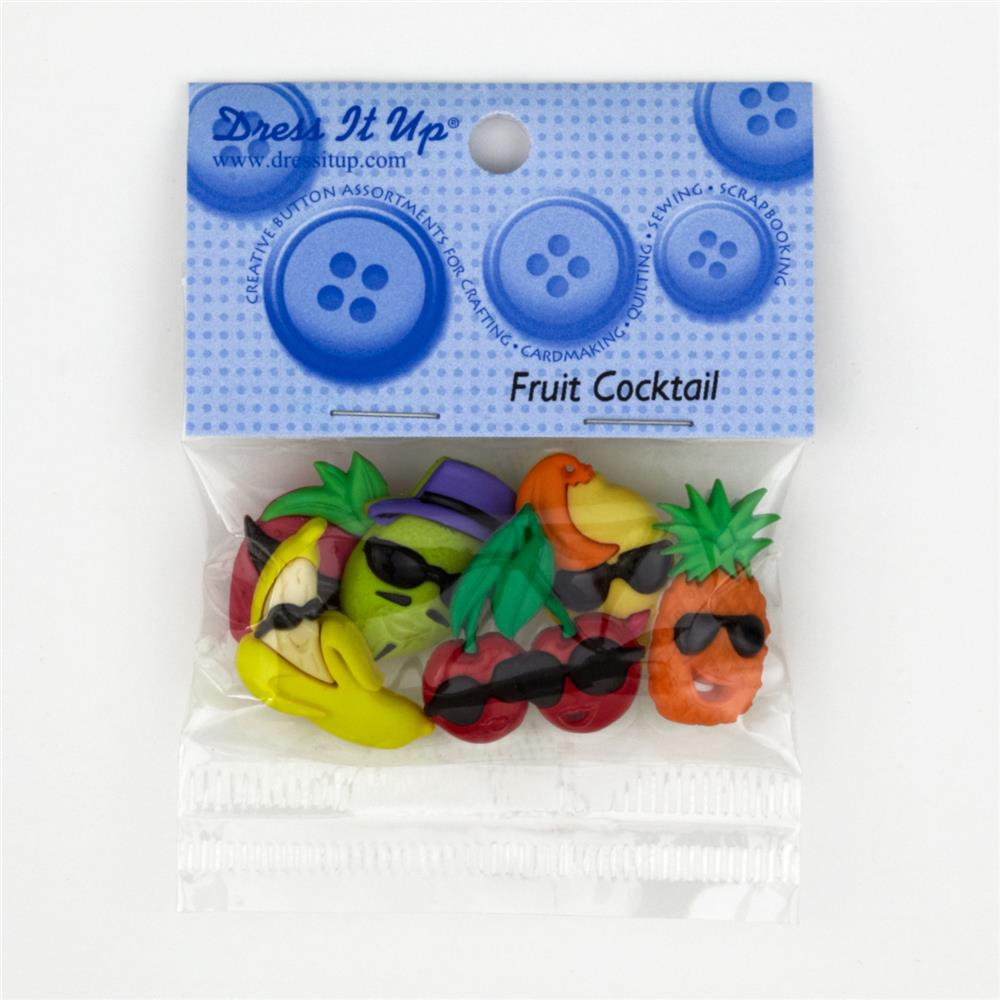Dress It Up Embellishment Buttons  Fruit Cocktail