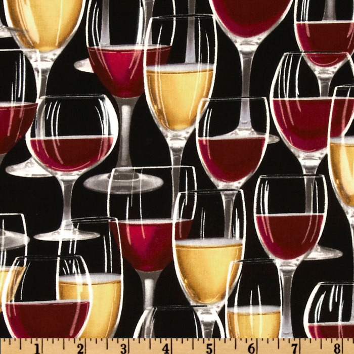 Wine Lovers Wine Glasses Black Fabric