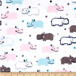 Minky Cuddle Prints Happy Hippo Blush/Saltwater