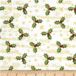 Holiday Magic Metallic Holly and Music White Fabric