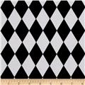 Harlequin Print Jersey Knit Black White
