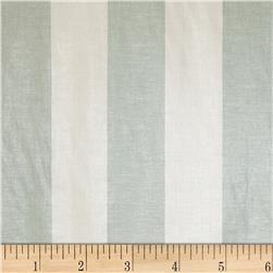 European 100% Linen Metallic Striped Silver & Ciel