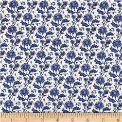 Morocco Blues Stretch Poplin Floral Navy/Royal/White