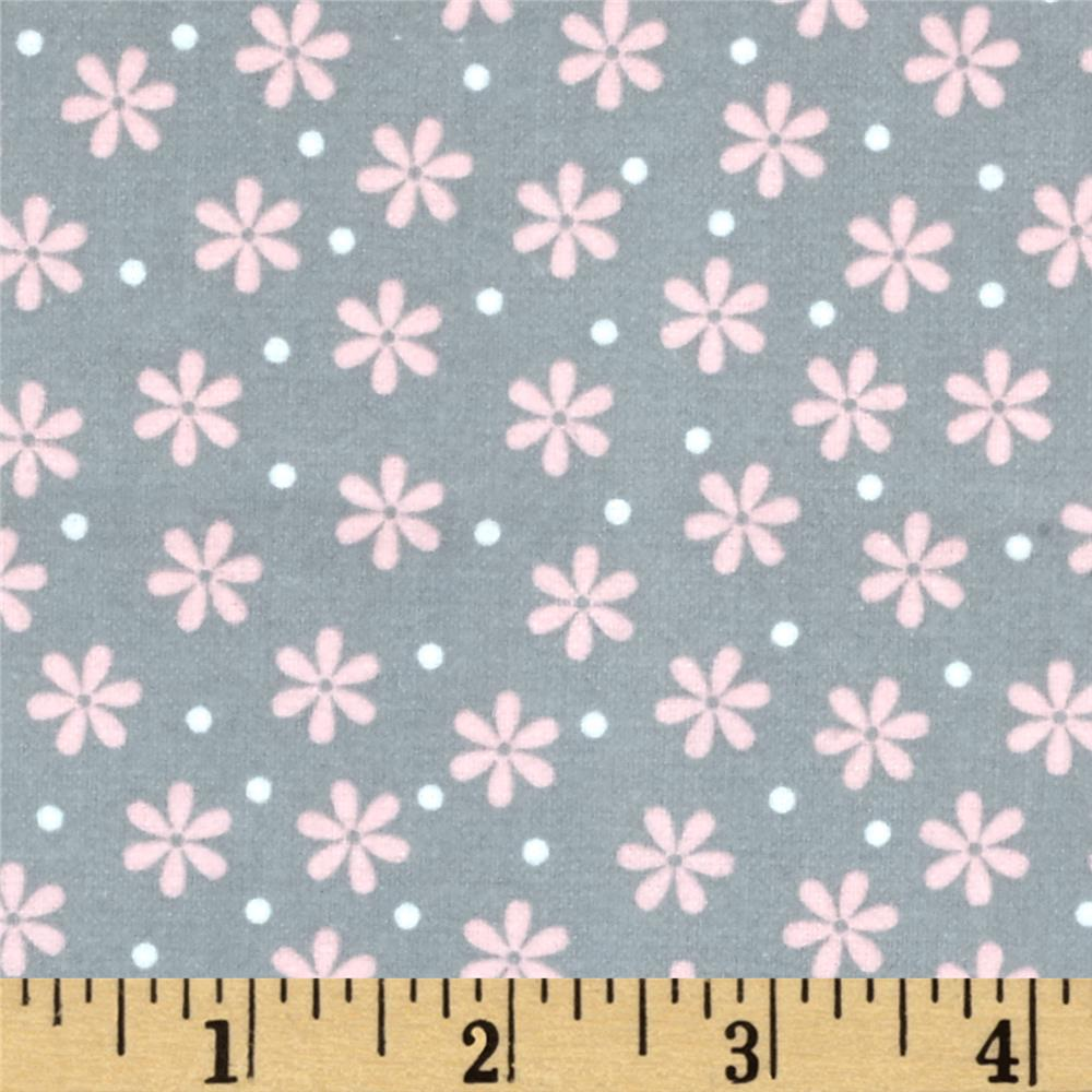 Kaufman Cozy Cotton Flannel Daisy Grey Fabric By The Yard