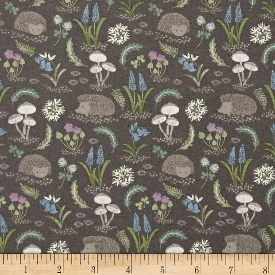 Bluebell Wood HedgeHogs & Flowers Grey