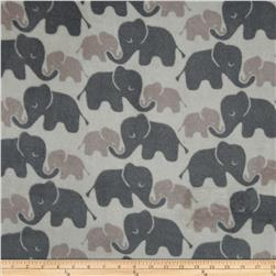 Plush Coral Fleece Elephants Tone on Tone Grey