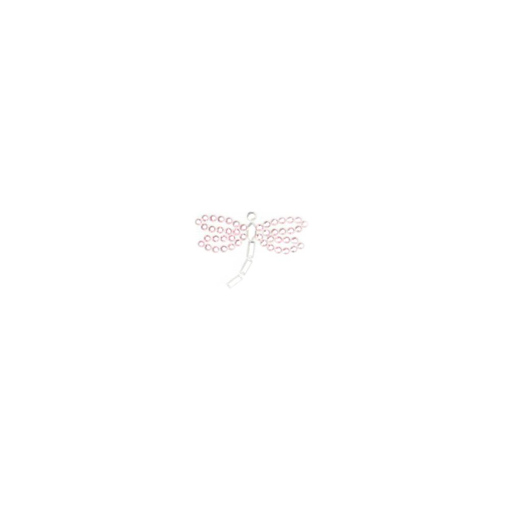 Dragonfly Rhinestud Applique Pink/Silver