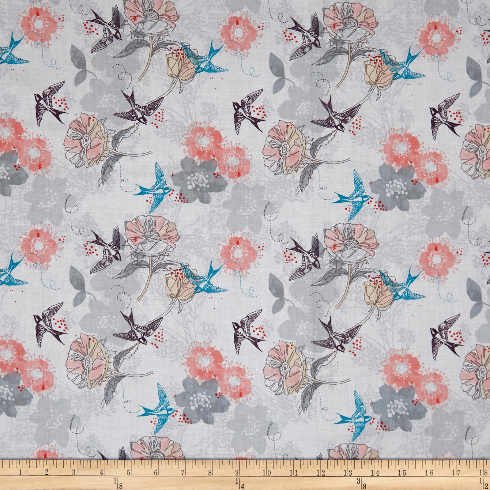INOpets.com Anything for Pets Parents & Their Pets Marbella Bird Floral White Fabric