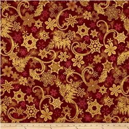 Kaufman Holiday Flourish Metallics Snowflakes Holiday