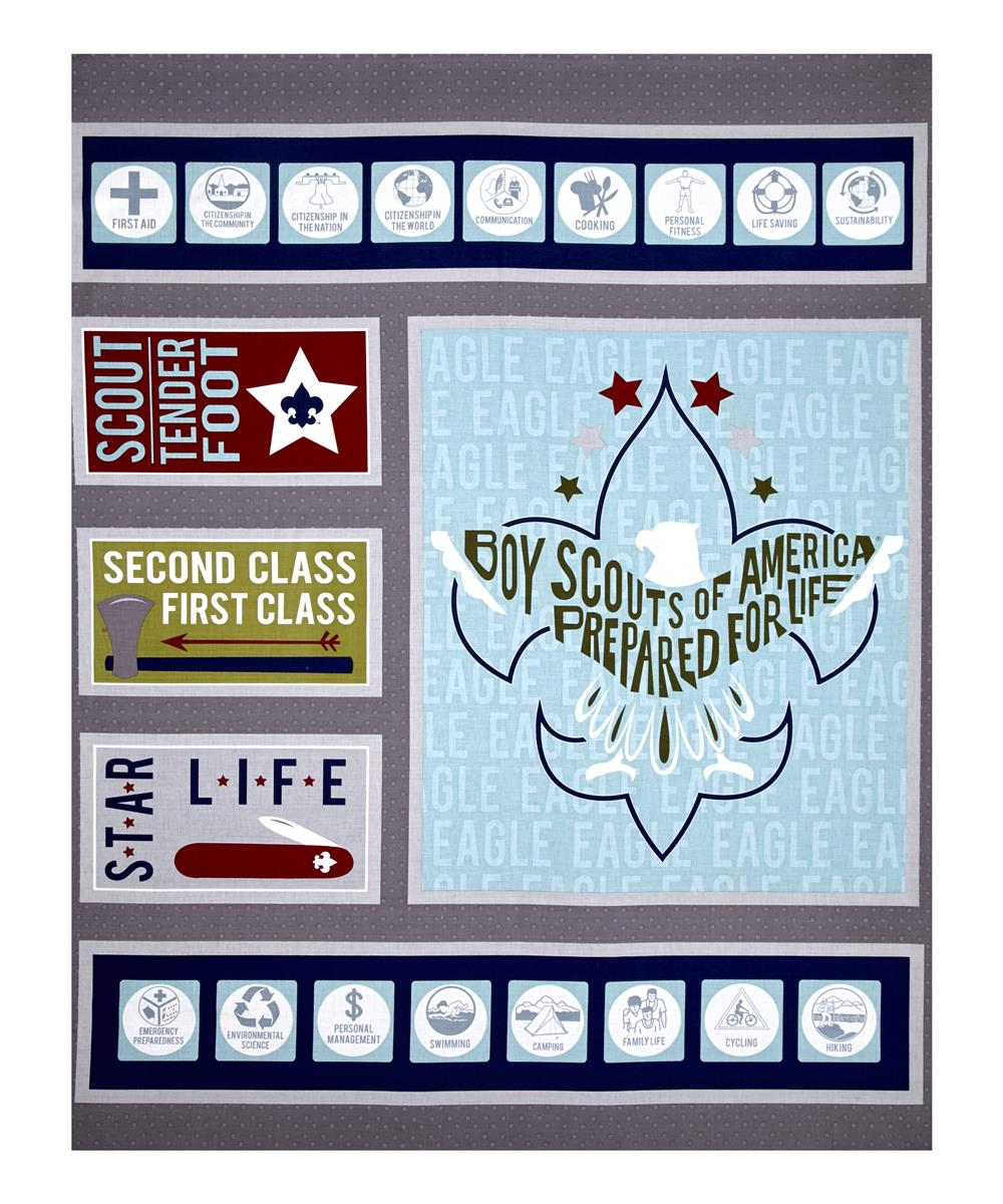 Riley Blake Boy Scouts Of America Scout 36.5'' Panel Gray Fabric