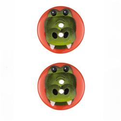 Novelty Button 1'' Critter Croc Orange/Green