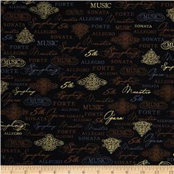 Robert Kaufman All That Jazz Metallic Music Collage Black