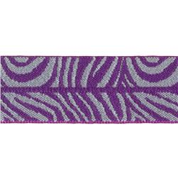 Dritz 1'' x 1 Yard Fold-Over Elastic Zebra Purple/Grey