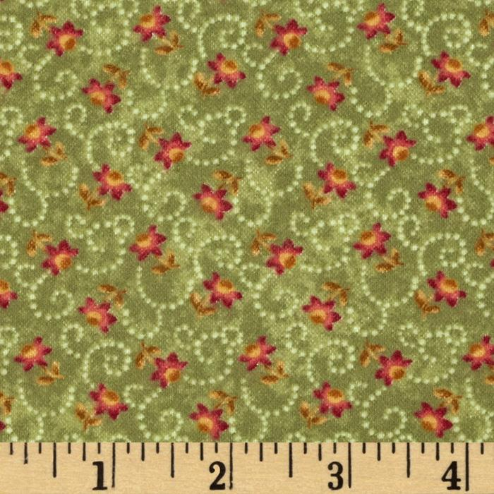 Buggy Barn Flannel Essentials 7 Swirly Flower Sage