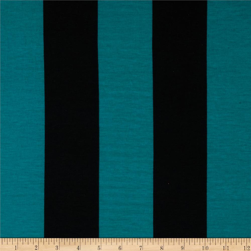 Soft Jersey Knit Large Stripes Jade/Black