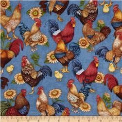Happy Homestead Roosters Blue Fabric