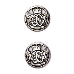 Fashion Button 7/8'' Royal Shield Silver