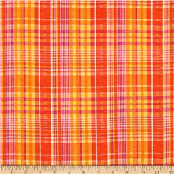 Kaufman Cape Cod Seersucker Plaid Orange Fabric