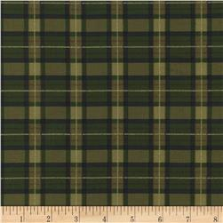 Timeless Treasures Golden Harvest Metallic Plaid Green Fabric