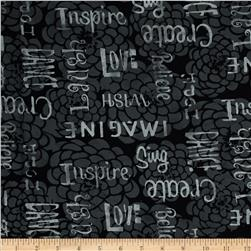 Bali Batiks Handpaints Words & Flowers Pewter