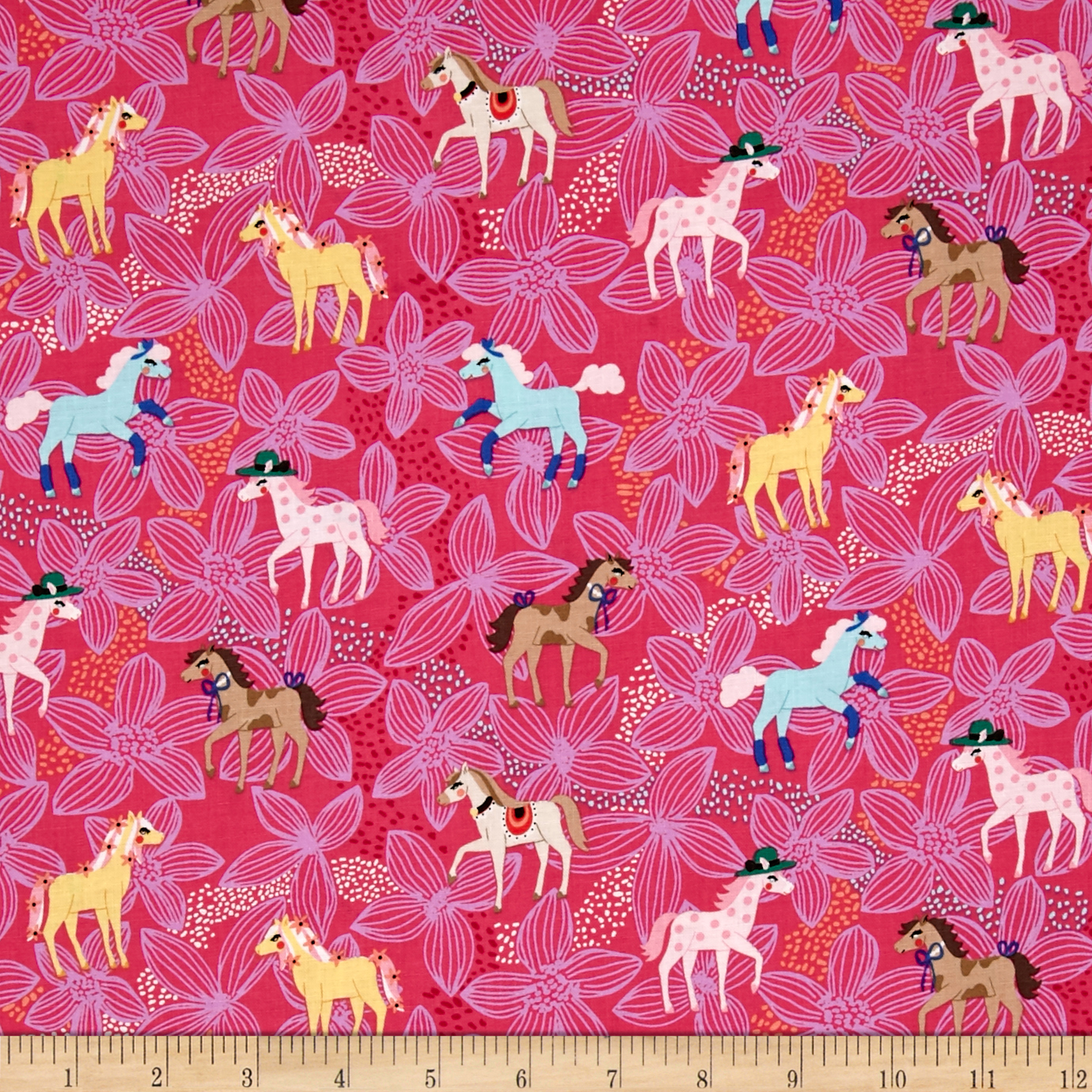Michael Miller Novelties Pretty Ponies Pink Fabric by Michael Miller in USA