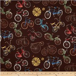 Vintage Bicycles Allover Bicycle Print Brown
