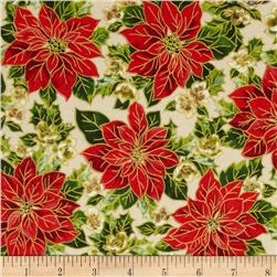 Christmas Day Poinsettias White/Red Fabric