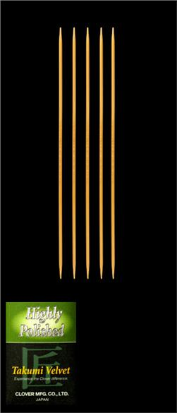 Clover Takumi Velvet Knitting Needles Double Pt. 7'' US 1 (2.25mm)