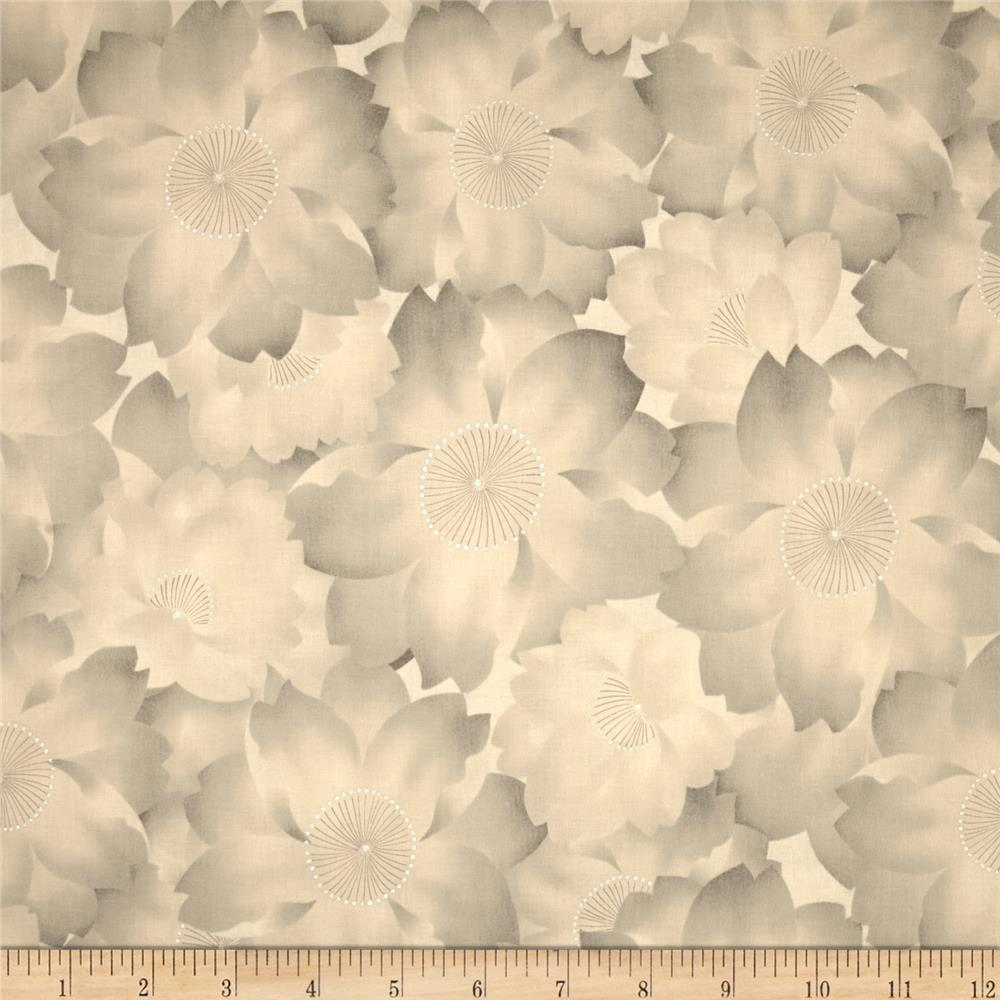 Kaufman Imperial Collection Metallic Abstract Flowers Antique
