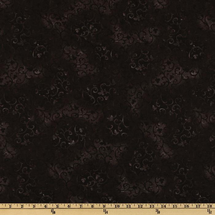 "108"" Wide Essentials Quilt Backing Scroll Black"