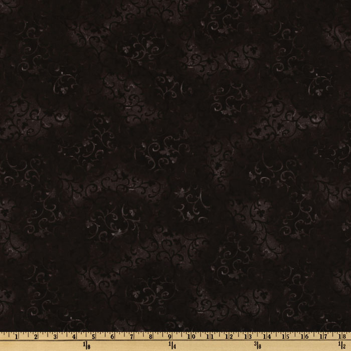 108'' Essential Scroll Quilt Backing Black Fabric