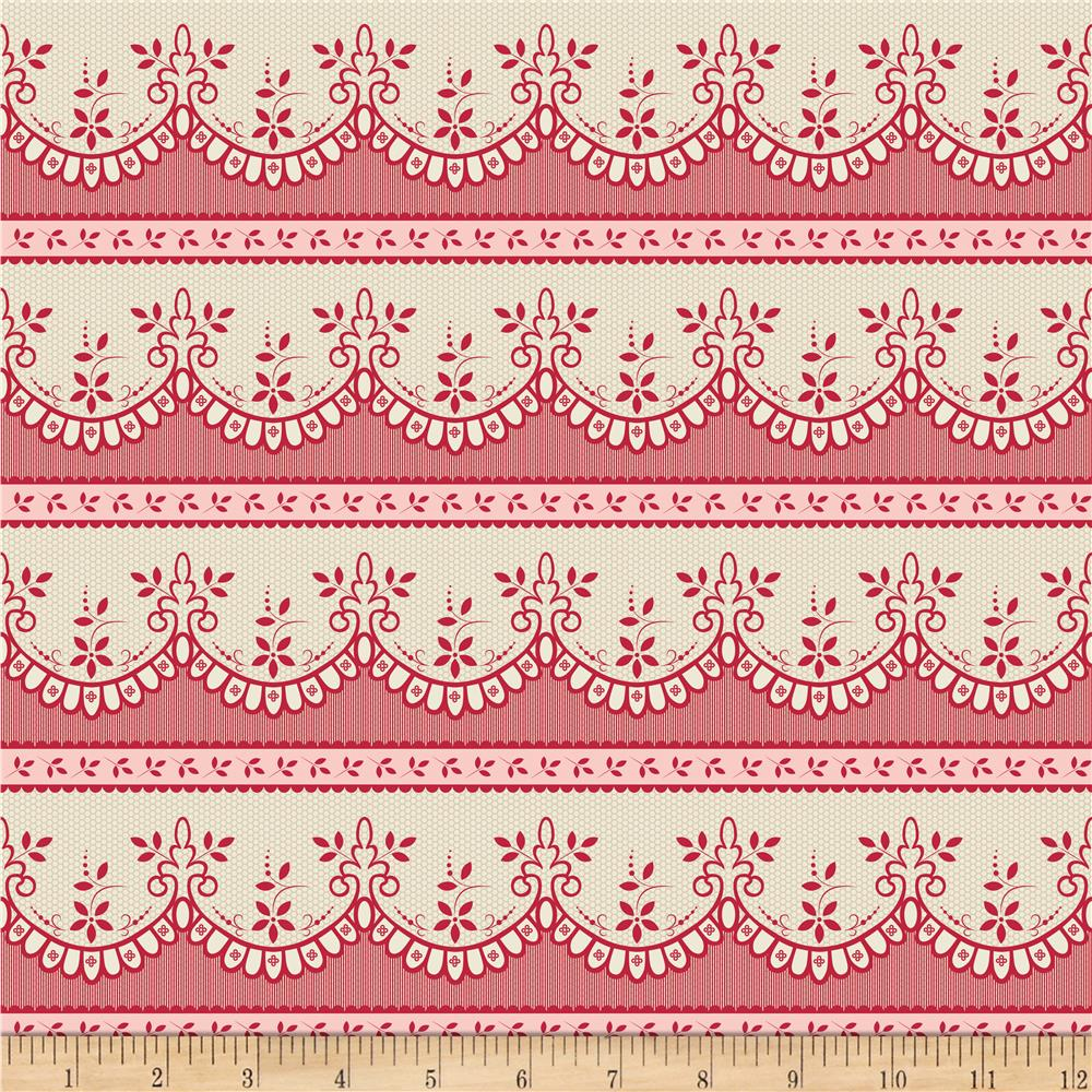 Riley Blake Raspberry Parlour Lace Cream