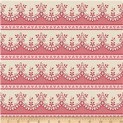 Riley Blake Raspberry Parlour Lace Cream Fabric