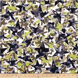 Kanvas Camo Mix 4 Star Camo White Fabric