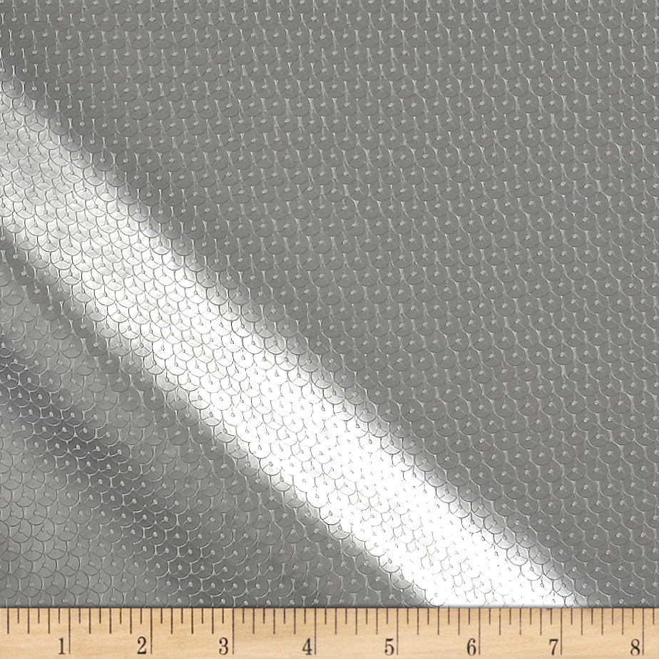 Sequin Look Vinyl Silver Fabric by Plastex in USA