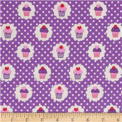 Michael Miller It's a Girl Thing Mini Cupcakes Purple