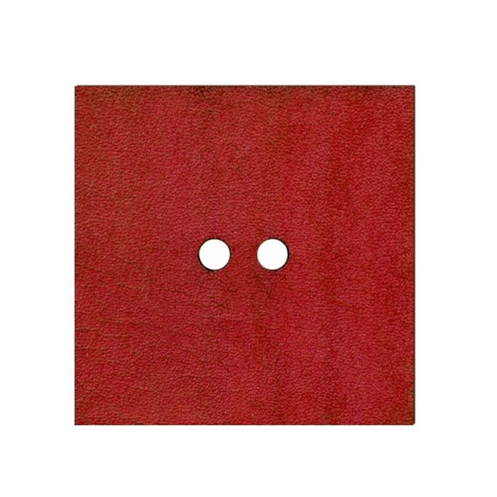 2'' Leather Button Square Red